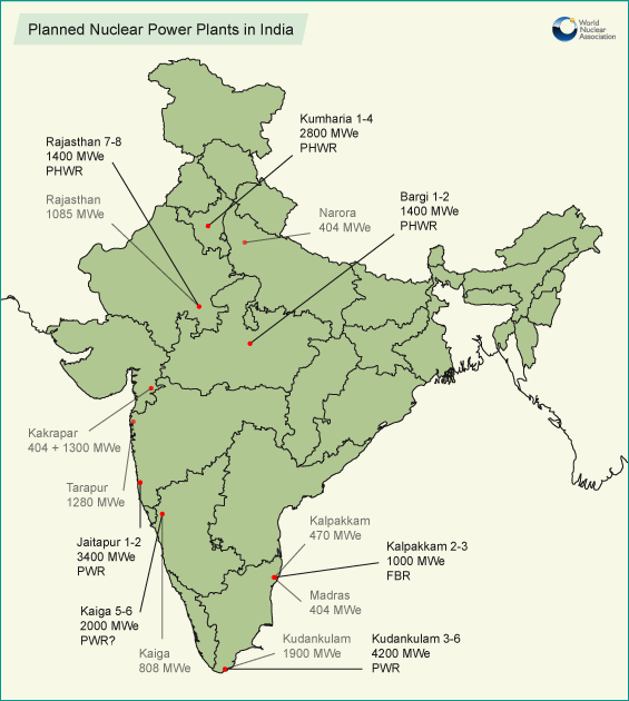 Nuclear power stations in India map